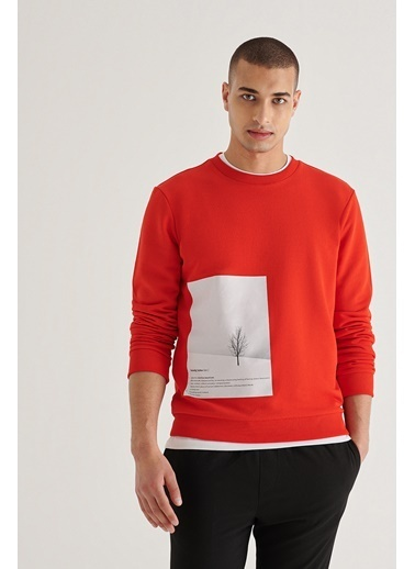Avva Erkek  Bisiklet Yaka Sweatshirt A11Y1045 Kırmızı